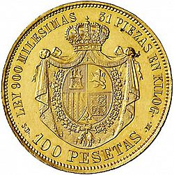 Large Reverse for 100 Pesetas 1870 coin