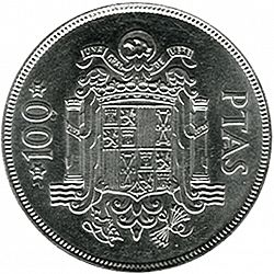 Large Reverse for 100 Pesetas 1975 coin