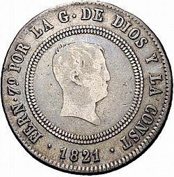 Large Obverse for 10 Reales 1821 coin