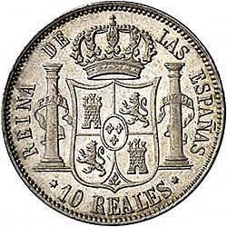 Large Reverse for 10 Reales 1859 coin