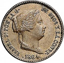 Large Obverse for 10 Céntimos Real 1864 coin