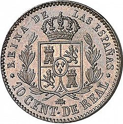 Large Reverse for 10 Céntimos Real 1859 coin