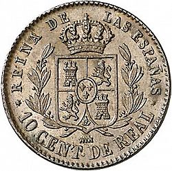 Large Reverse for 10 Céntimos Real 1864 coin