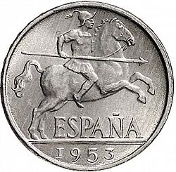 Large Obverse for 10 Céntimos 1953 coin