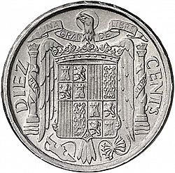 Large Reverse for 10 Céntimos 1941 coin