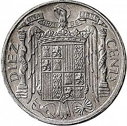 Large Reverse for 10 Céntimos 1953 coin