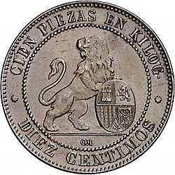 Large Reverse for 10 Céntimos 1870 coin