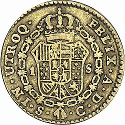 Large Reverse for 1 Escudo 1785 coin
