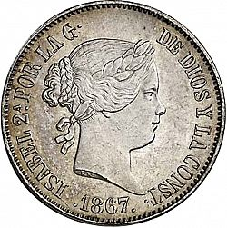 Large Obverse for 1 Escudo 1867 coin