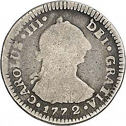 Large Obverse for 1 Real 1772 coin