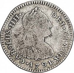 Large Obverse for 1 Real 1791 coin