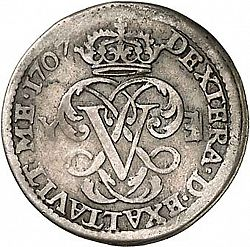 Large Reverse for 1 Real 1707 coin