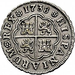 Large Reverse for 1 Real 1738 coin