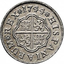 Large Reverse for 1 Real 1744 coin