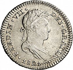 Large Obverse for 1 Real 1821 coin