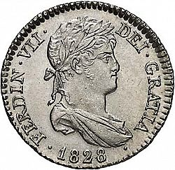 Large Obverse for 1 Real 1828 coin