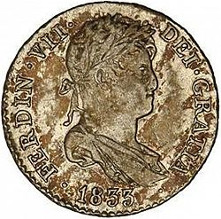 Large Obverse for 1 Real 1833 coin