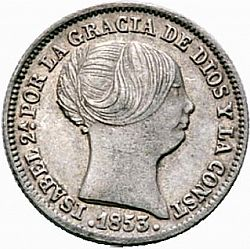 Large Obverse for 1 Real 1853 coin