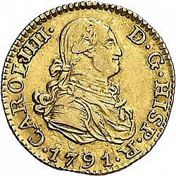 Large Obverse for 1/2 Escudo 1791 coin