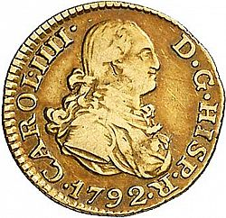 Large Obverse for 1/2 Escudo 1792 coin