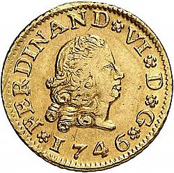 Large Obverse for 1/2 Escudo 1746 coin