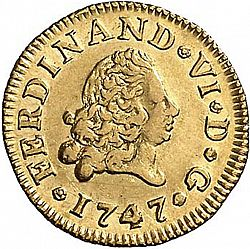 Large Obverse for 1/2 Escudo 1747 coin