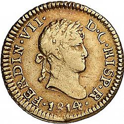 Large Obverse for 1/2 Escudo 1814 coin