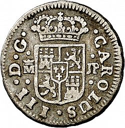 Large Obverse for 1/2 Real 1761 coin