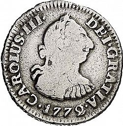 Large Obverse for 1/2 Real 1772 coin
