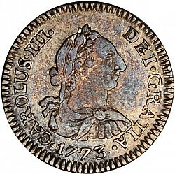 Large Obverse for 1/2 Real 1773 coin