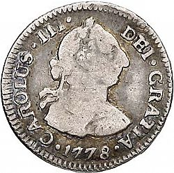 Large Obverse for 1/2 Real 1778 coin