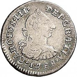 Large Obverse for 1/2 Real 1788 coin