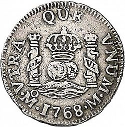 Large Reverse for 1/2 Real 1768 coin