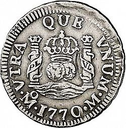Large Reverse for 1/2 Real 1770 coin