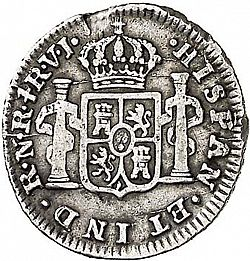 Large Reverse for 1/2 Real 1772 coin