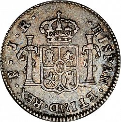 Large Reverse for 1/2 Real 1773 coin