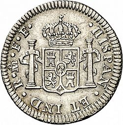 Large Reverse for 1/2 Real 1782 coin