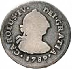 Large Obverse for 1/2 Real 1789 coin