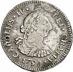 Large Obverse for 1/2 Real 1790 coin