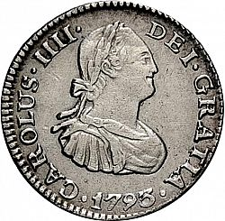Large Obverse for 1/2 Real 1793 coin
