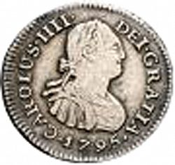 Large Obverse for 1/2 Real 1795 coin