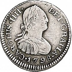 Large Obverse for 1/2 Real 1798 coin
