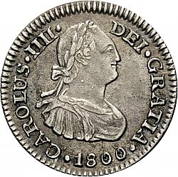 Large Obverse for 1/2 Real 1800 coin