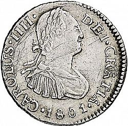 Large Obverse for 1/2 Real 1801 coin