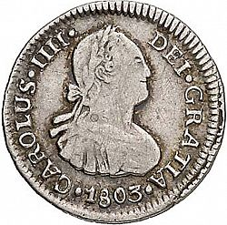 Large Obverse for 1/2 Real 1803 coin