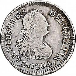 Large Obverse for 1/2 Real 1804 coin