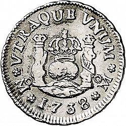 Large Reverse for 1/2 Real 1738 coin
