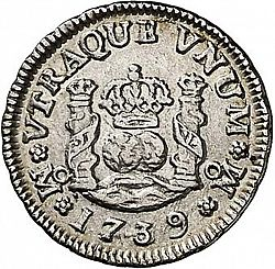 Large Reverse for 1/2 Real 1739 coin