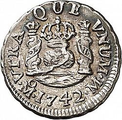 Large Reverse for 1/2 Real 1742 coin