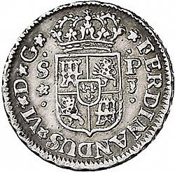 Large Obverse for 1/2 Real 1748 coin